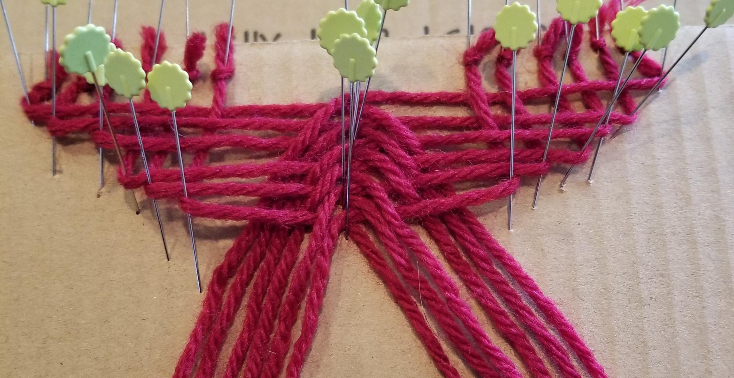 Beginning of 12-strand braid for belt