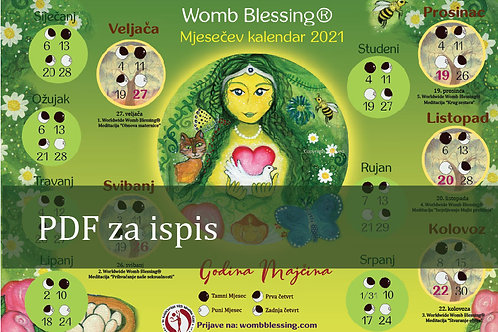 HRVATSKI Womb Blessing Mjesečev kalendar 2021 pdf za ispis