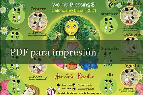 Español  Womb Blessing Calendario Lunar 2021 pdf para imprimir