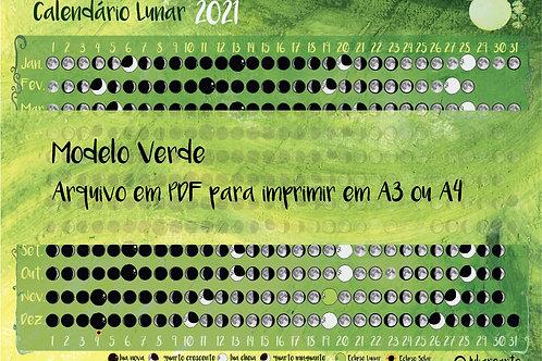 Calendário Lunar em pdf to  PRINT (Verde)
