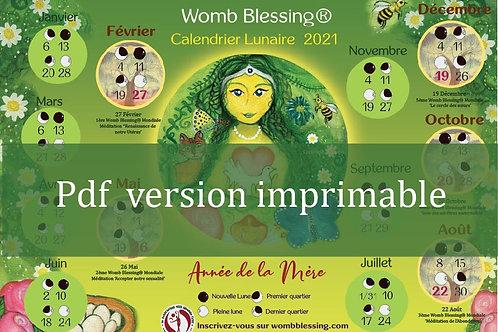 Français Womb Blessing Calendrier Lunaire 2021 pdf version imprimable