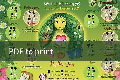 ENGLISH Womb Blessing Calendar Lunar 2021 pdf to print