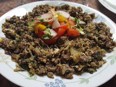 Mukhalimuh Al-Eiraqiuh (Ground Beef and Eggs Iraqi style)
