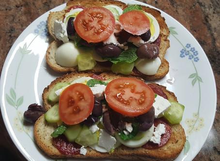 Breakfast sandwich  Boiled Egg, Pepperoni and Feta Cheese