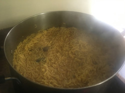 Rice is pressed and cooked