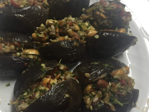 Makdous Stuffed Eggplants