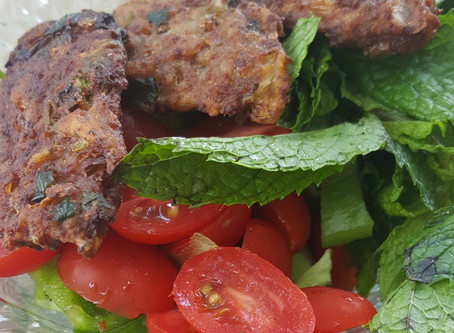 Kabab Maqley (Fried Iraqi Kabab): Ground beef mixed with herbs and spices.