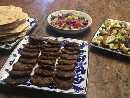 Meal Plan Idea # 1 Kabab Maqley Zucchinis, Eggplant, Cauliflower, Veg Salad, and Iraqi Flat Bread.