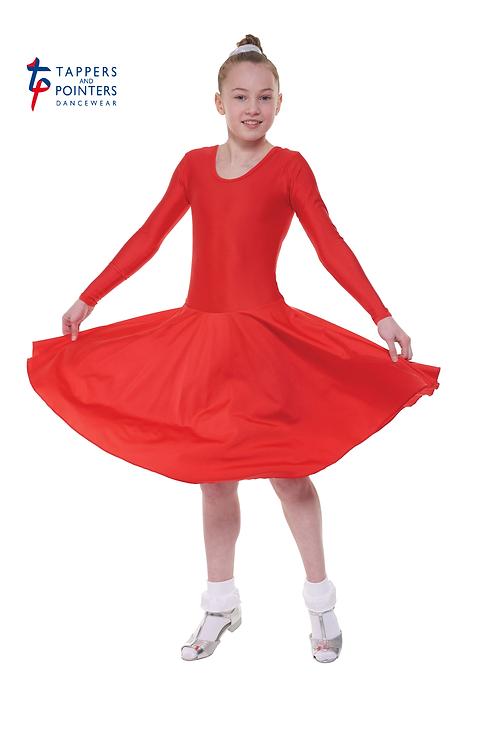 Long Sleeve Plain Front Dress Standard Length
