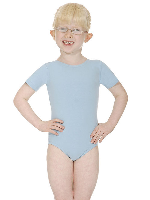 Primary Cotton/Lycra short sleeved, scoop necked leotard.