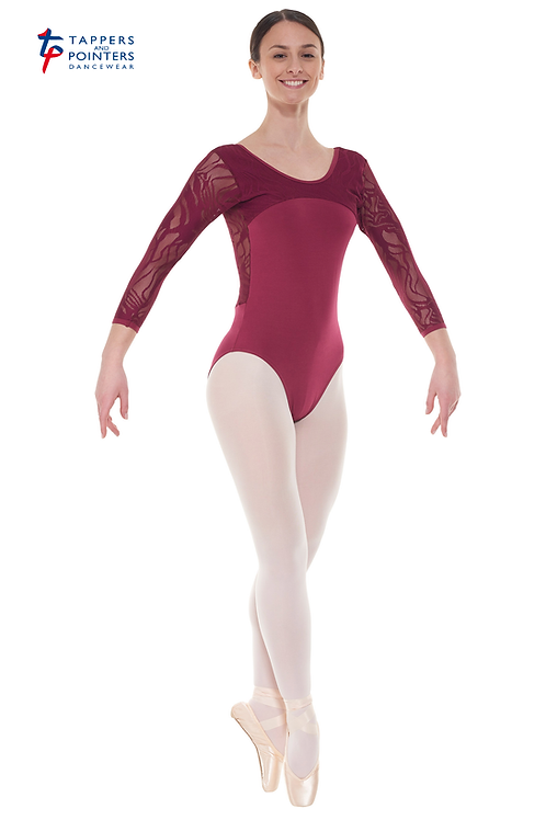 3/4 Length Lace Sleeved Leotard Curved Neckline