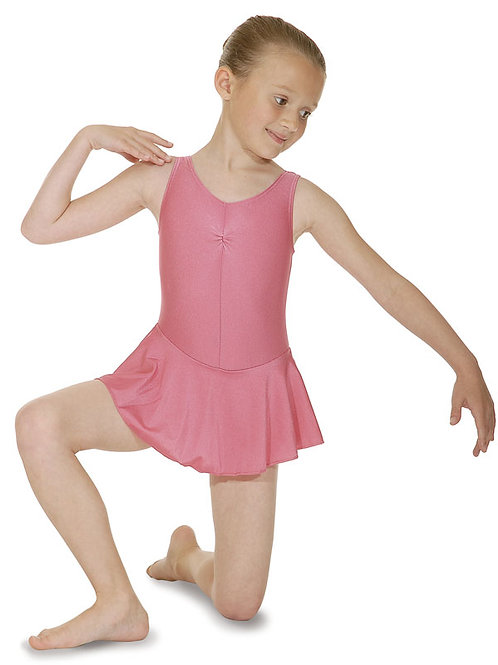 Sleeveless Leotard With Ruched Front And Flared Skirt