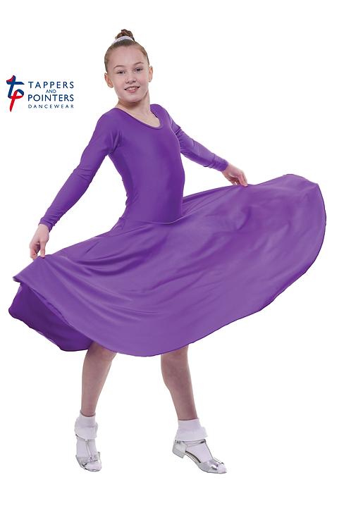 Long Sleeve Plain Front Dress Longer Length