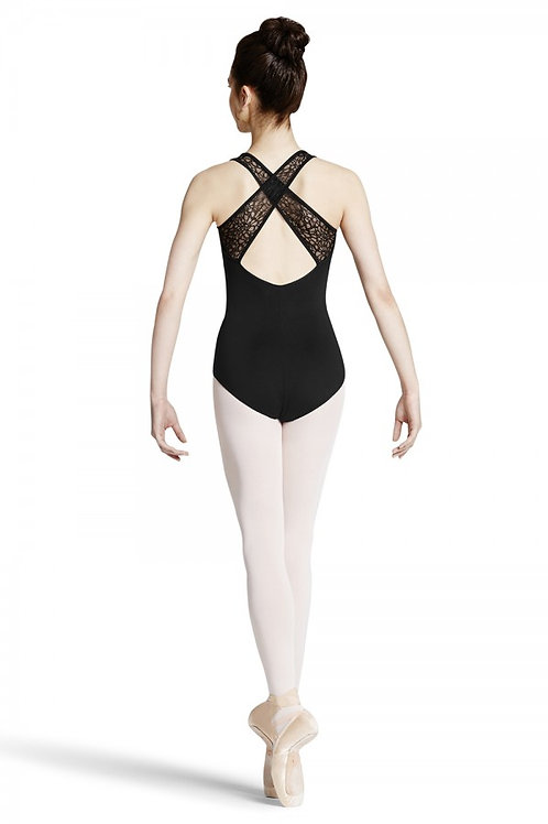 Mirella M342LM Black Textured Lace Band Leotard