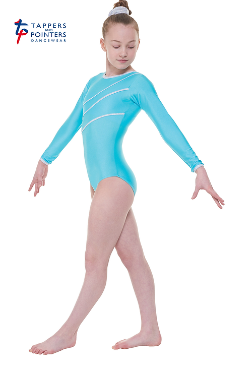 Long Sleeve Leotard Silver Holo Shine