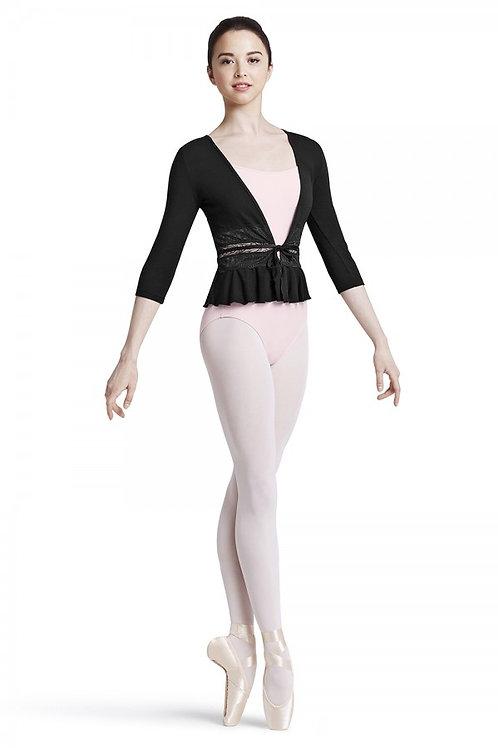Mirella M7031L Black Lace Front Tie 3/4 Sleeve Top