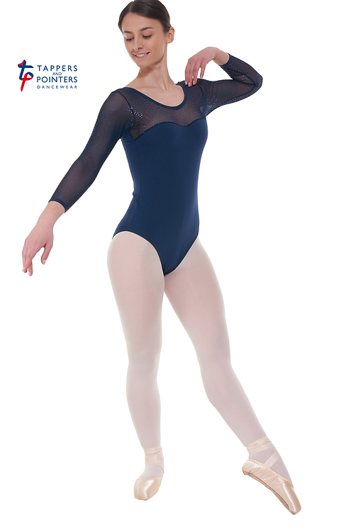 3/4 Length Twinkling Net Sleeves Leotard Sweetheart Neckline