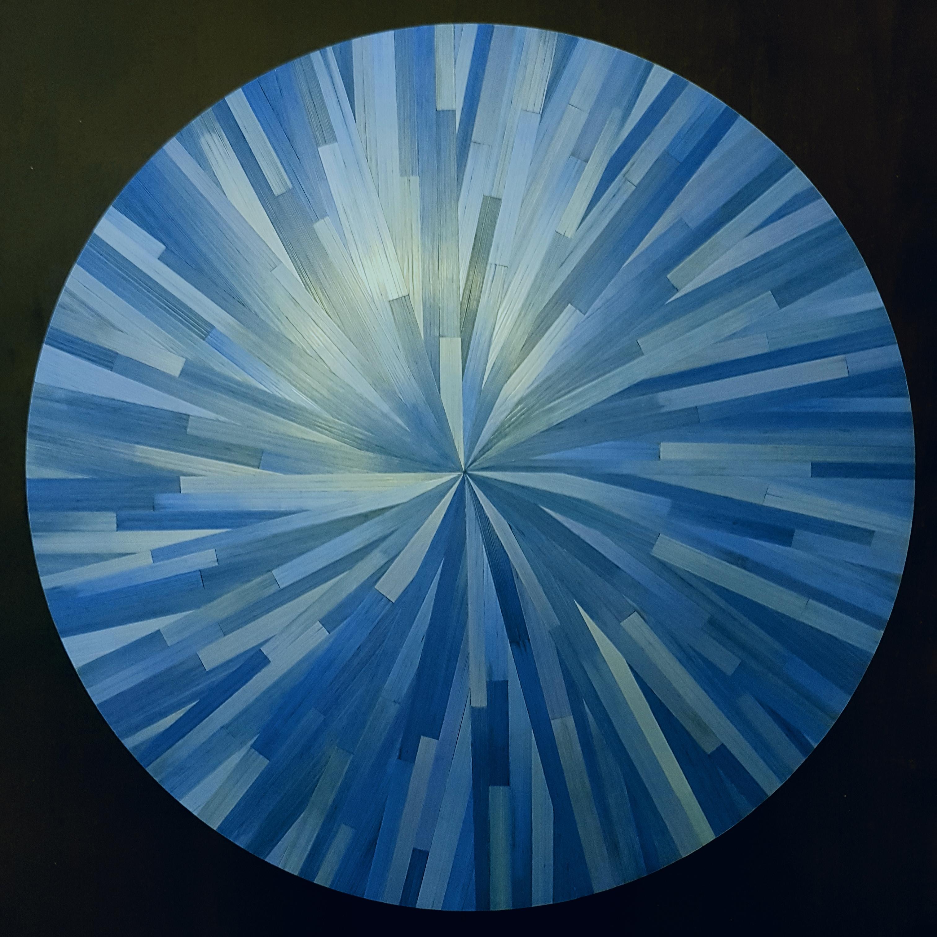 Marqueterie de paille bleue