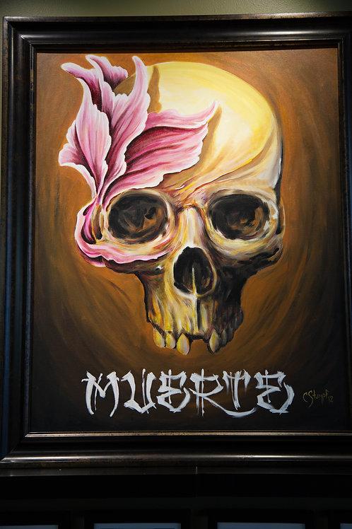 Muerte Framed Canvas Print 11x14