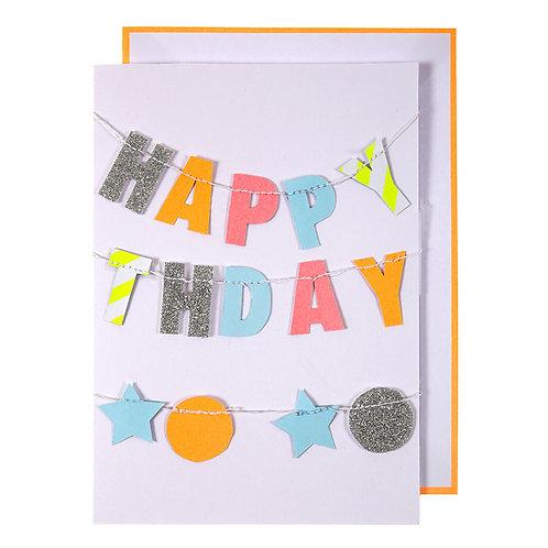 Kaart Happy Birthday (incl. slinger)