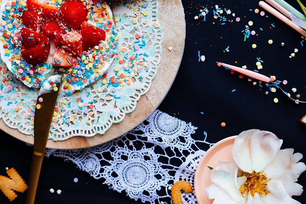 Foto's van het frozen yoghurt taartje