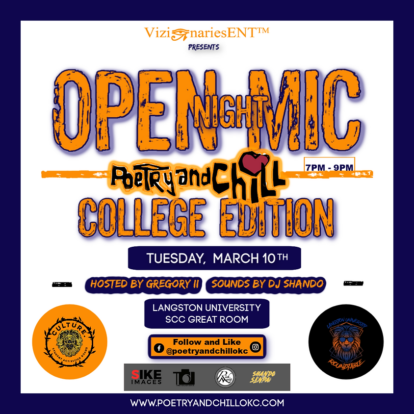 """Poetry and Chill College Tour """"Langston"""" Edition"""