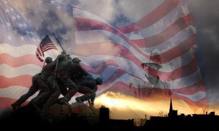 Iwo Jima and American flag