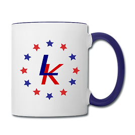 red, white and blue liberty kid mug with stars