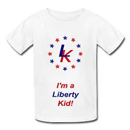 Red, white and blue liberty kid shirt with stars!