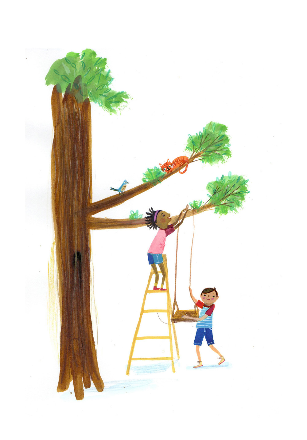 Alec and his friend Rosa are putting up a tree swing.