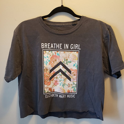 Breathe in Girl Crop Tee (Charcoal)