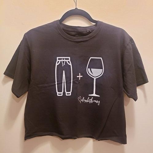 Sweatpants and Wine Crop Tee (Black)