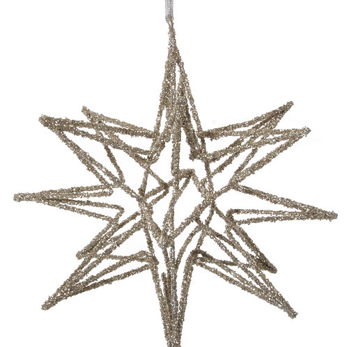 METAL STAR ORNAMENT CHAMPAGNE