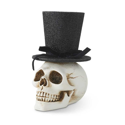 SKULL WITH GLITTER TOP HAT