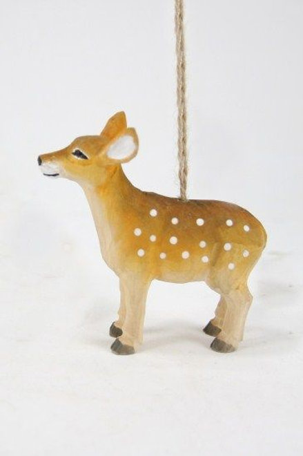 CARVED FAWN ORNAMENT