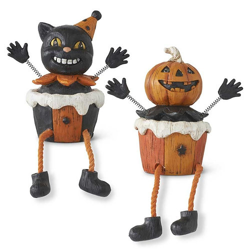 HALLOWEEN SHELF SITTERS WITH SPRING ARMS