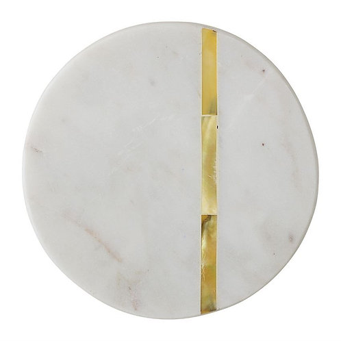 Round Marble Coaster Set with Gold Inlay