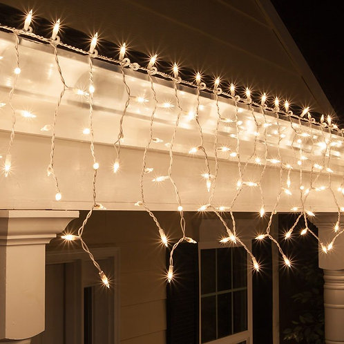 LIGHTS 100 ICICLE WHITE WIRE