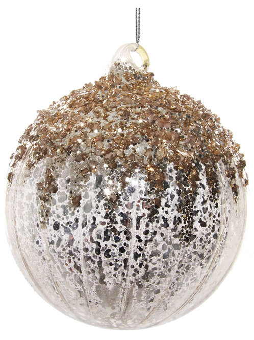 BEADED ORNAMENT ANTIQUE SILVER