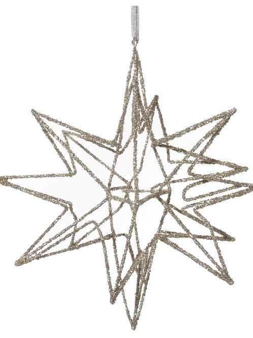 METAL STAR ORNAMENT CHAMPAGNE