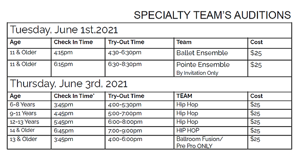 Specialty Teams Tryout schedule 2021-202