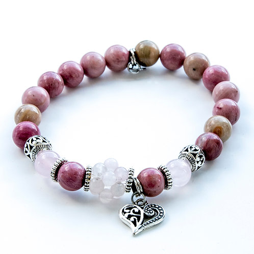 Bracelet quartz rose, rhodonite
