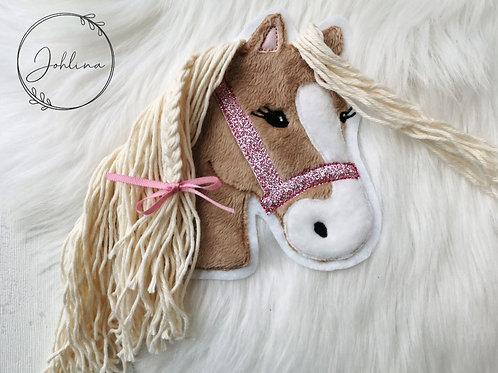 """Aufnäher/Patch Pferd """"Lulu""""(mittelbraun) Glitzer"""