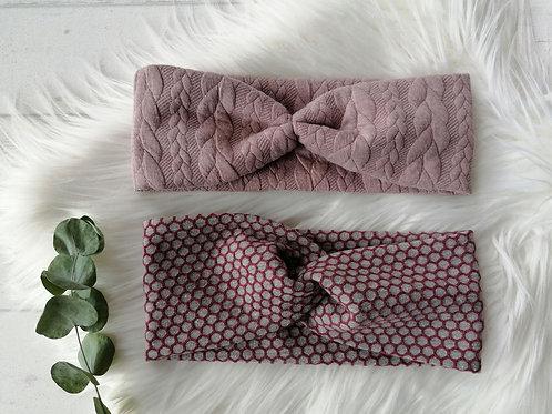 "Damen Stirnband/Haarband Jaquard Zopfmuster ""altrosa"""