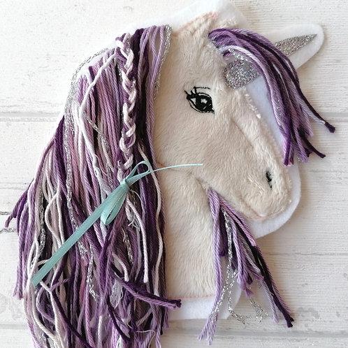 """Aufnäher/Patch Pferd """"Einhorn"""" lila"""
