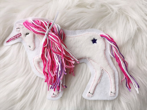 """Aufnäher/Patch Pferd """"Einhorn"""" pink"""