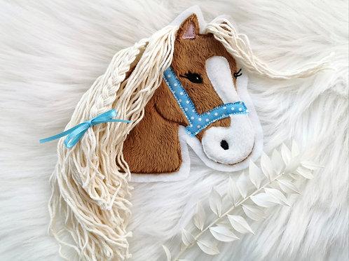"""Aufnäher/Patch Pferd """"Lulu"""" Punkte  (braun)"""