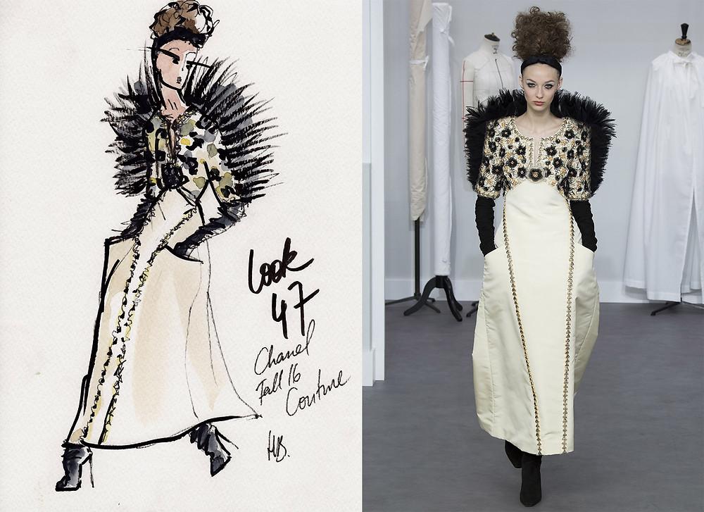 Chanel Haute-Couture Hiver 2016, Fall 2016, Look 47, Paris, Habile Buston Illustration