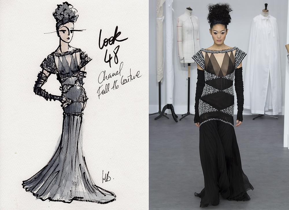 Chanel Haute-Couture Hiver 2016, Fall 2016, Look 48, Paris, Habile Buston Illustration