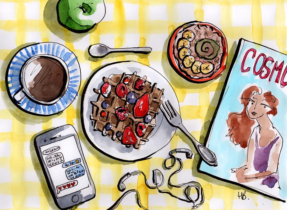 Illustration Habile Buston - Les reines du petit-déjeuner - Lifestyle et Culture - Aquarelle
